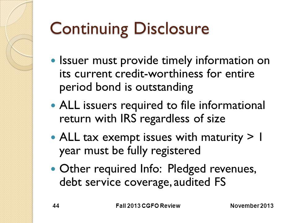 Continuing Disclosure