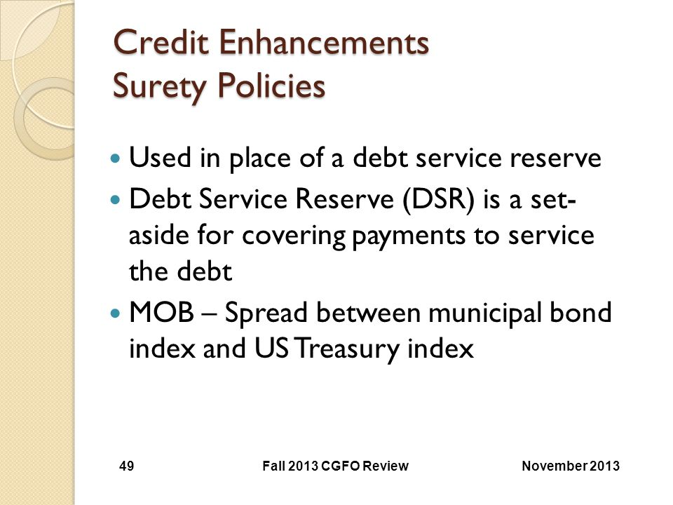 Credit Enhancements Surety Policies