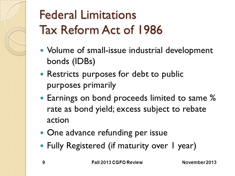 Federal Limitations Tax Reform Act of 1986