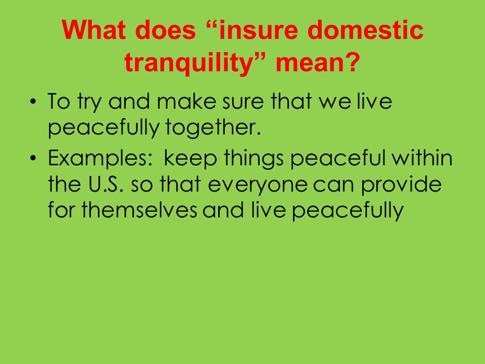 What does insure domestic tranquility mean