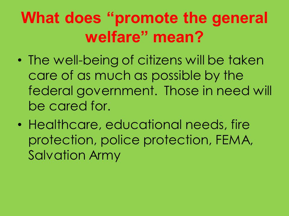 What does promote the general welfare mean