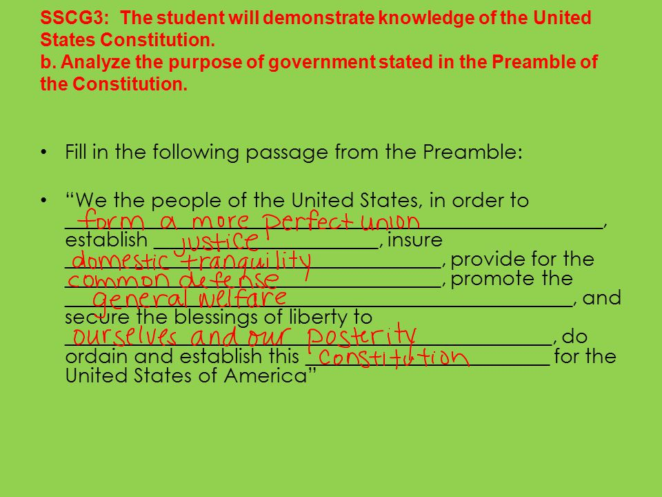 Fill in the following passage from the Preamble: