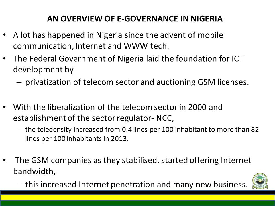 AN OVERVIEW OF E-GOVERNANCE IN NIGERIA