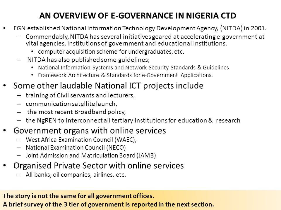 AN OVERVIEW OF E-GOVERNANCE IN NIGERIA CTD
