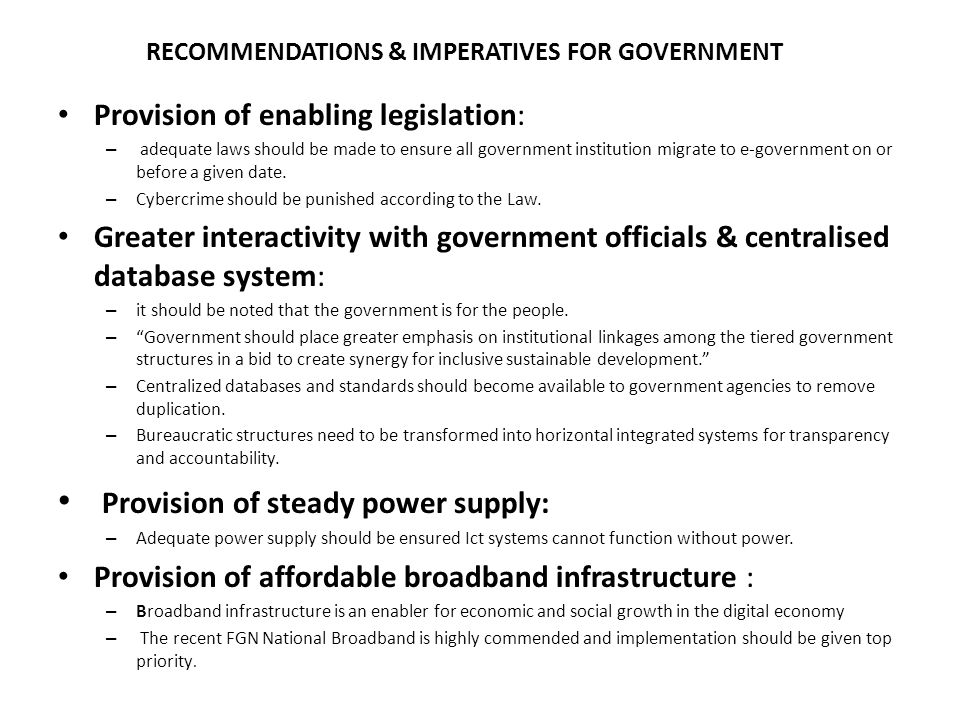 RECOMMENDATIONS & IMPERATIVES FOR GOVERNMENT