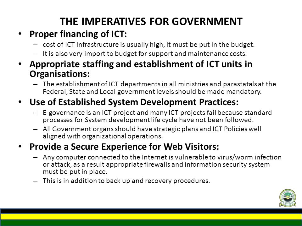 THE IMPERATIVES FOR GOVERNMENT