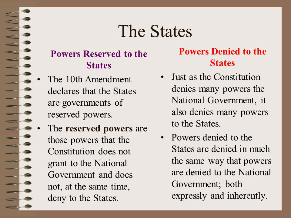 The States Powers Denied to the States Powers Reserved to the States