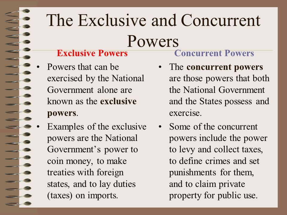The Exclusive and Concurrent Powers