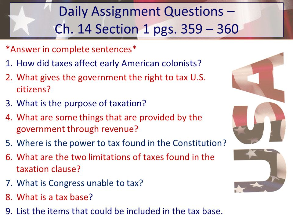 Daily Assignment Questions – Ch. 14 Section 1 pgs. 359 – 360