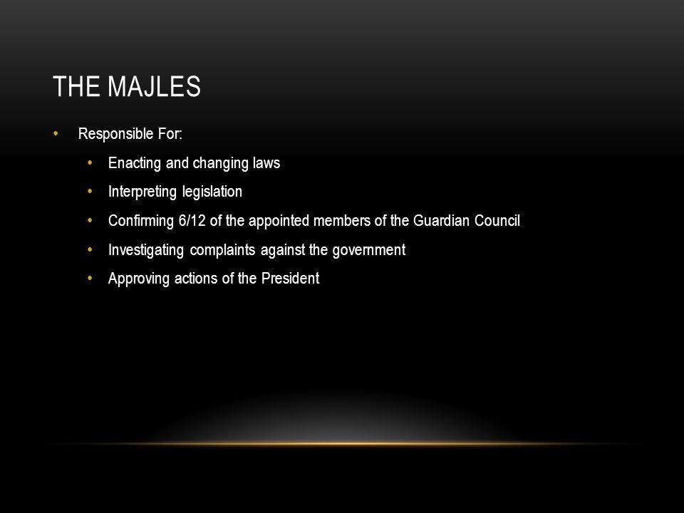 The Majles Responsible For: Enacting and changing laws