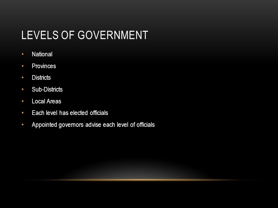Levels of Government National Provinces Districts Sub-Districts