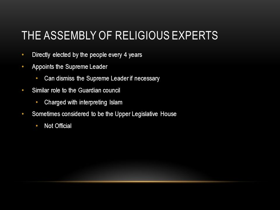 The Assembly of Religious Experts