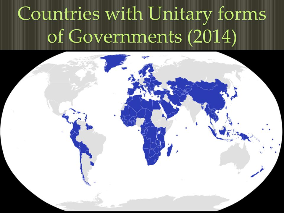 Countries with Unitary forms of Governments (2014)