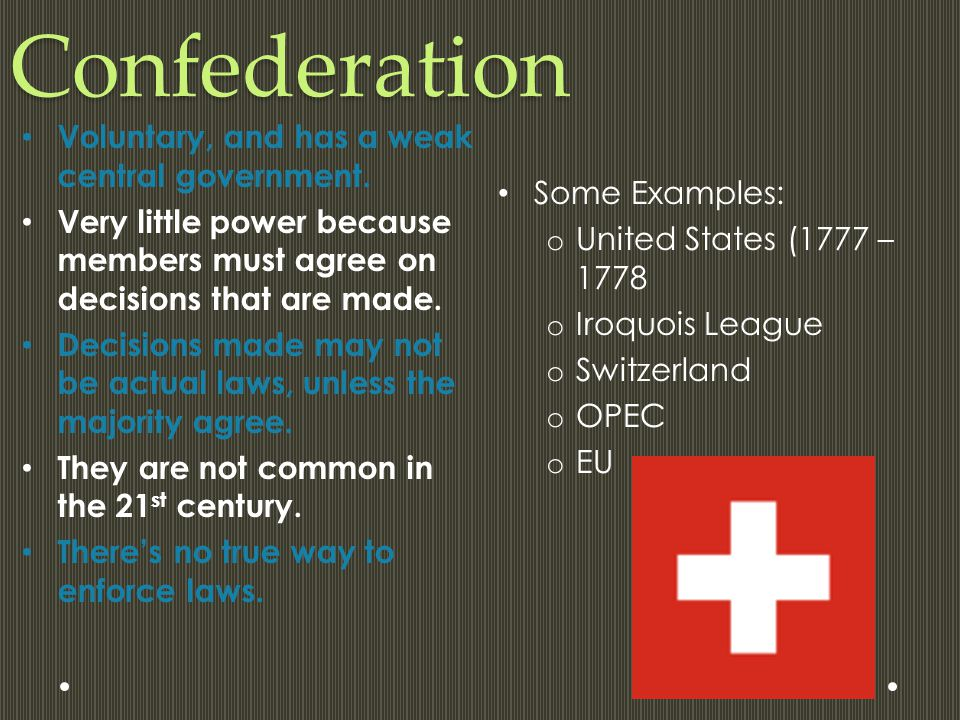 Confederation Voluntary, and has a weak central government.