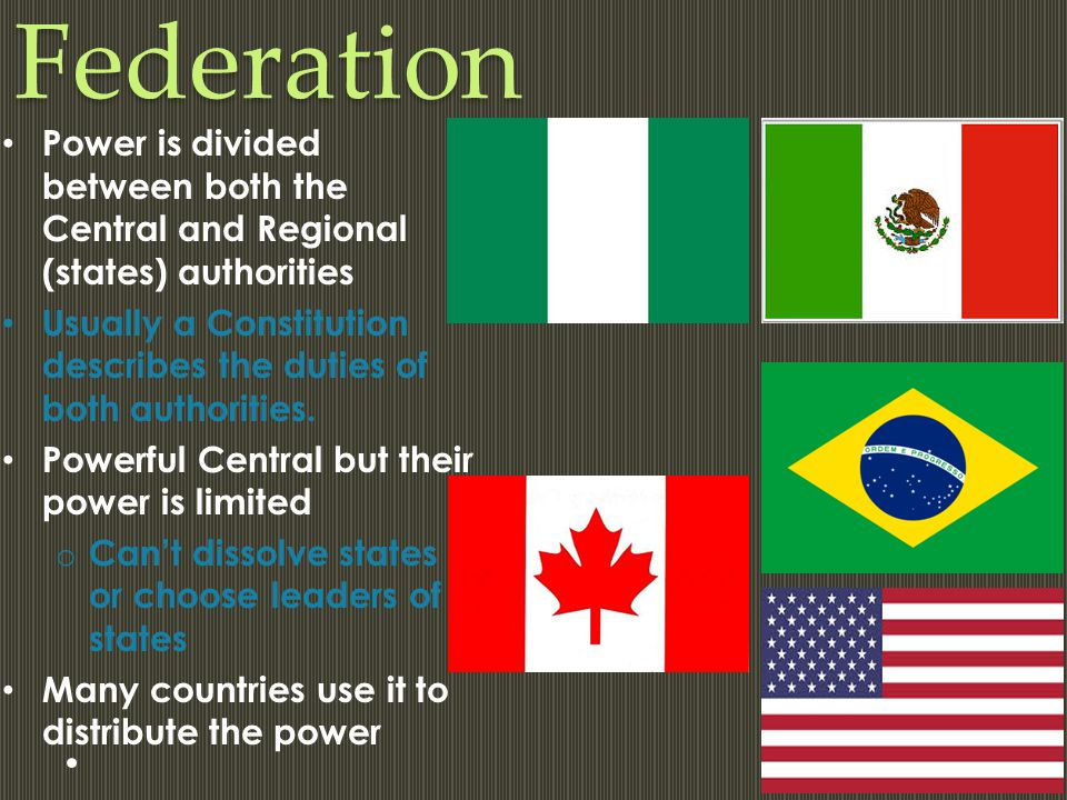 Federation Power is divided between both the Central and Regional (states) authorities.