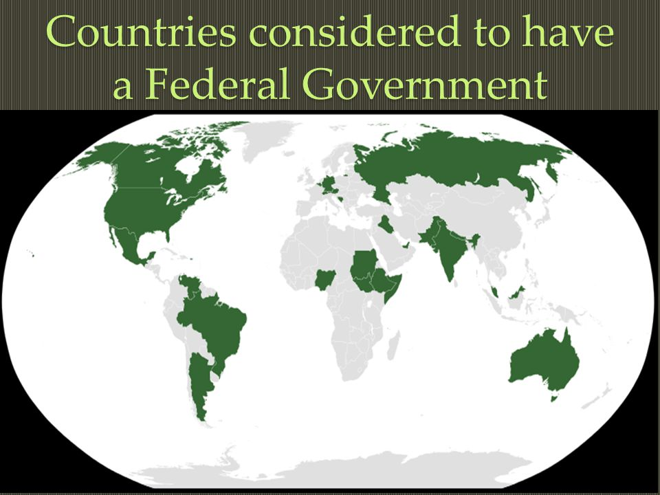 Countries considered to have a Federal Government