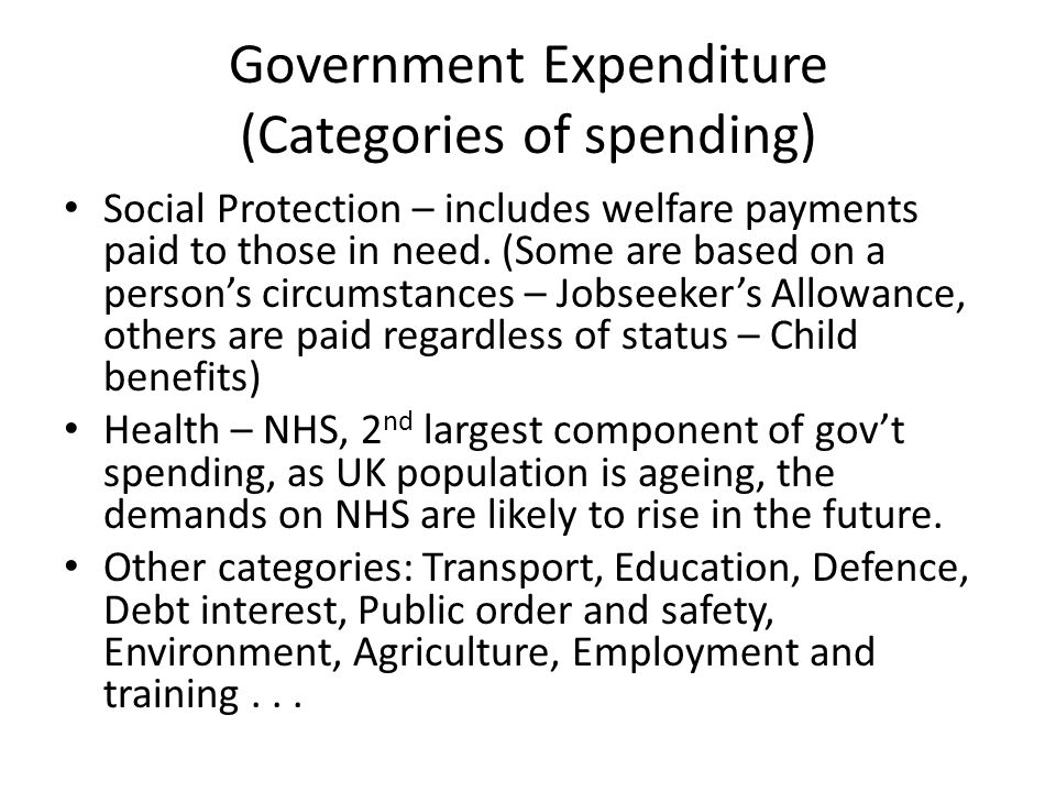 Government Expenditure (Categories of spending)