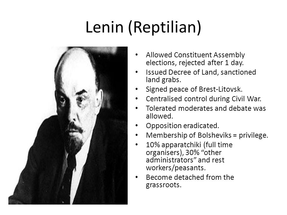 Lenin (Reptilian) Allowed Constituent Assembly elections, rejected after 1 day. Issued Decree of Land, sanctioned land grabs.