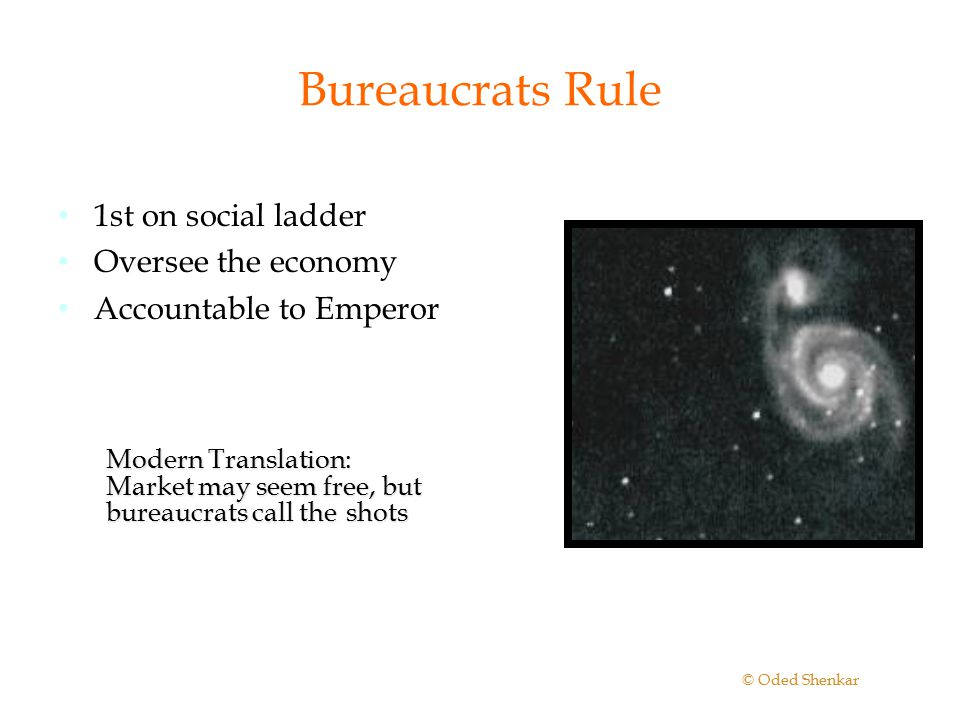 Bureaucrats Rule 1st on social ladder Oversee the economy