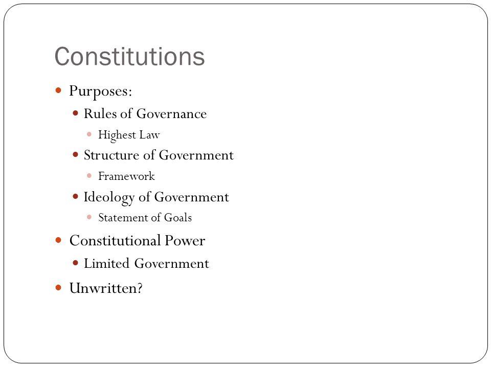Constitutions Purposes: Constitutional Power Unwritten