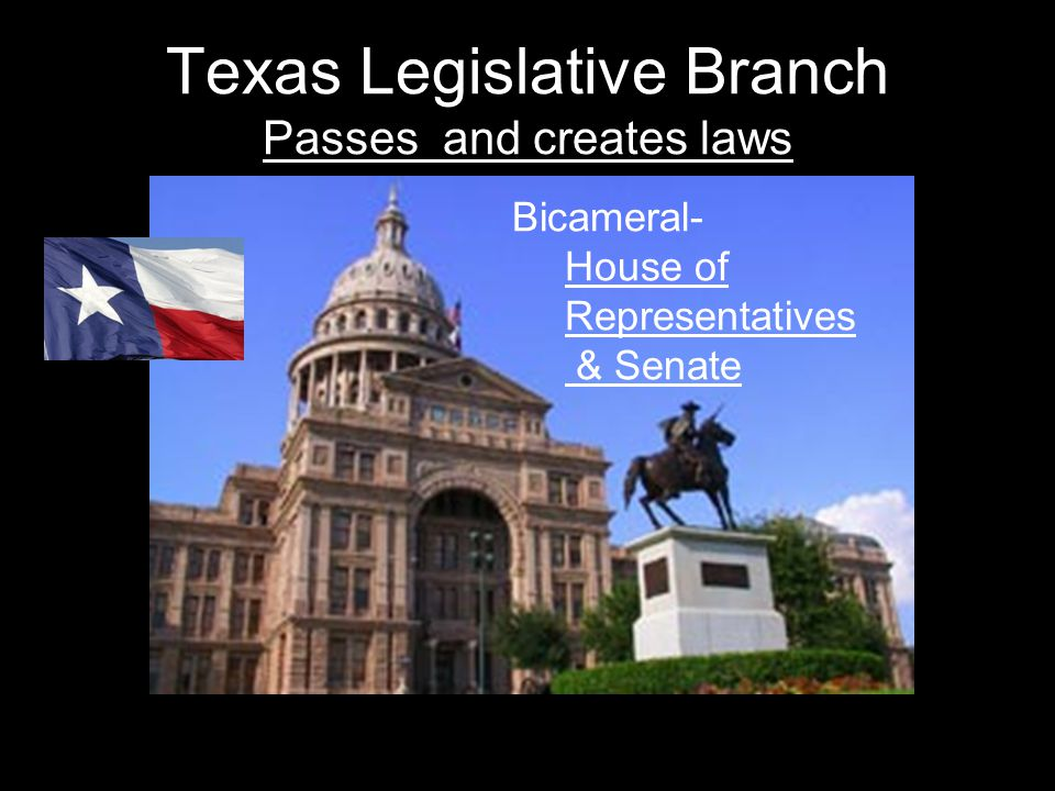 Texas Legislative Branch Passes and creates laws