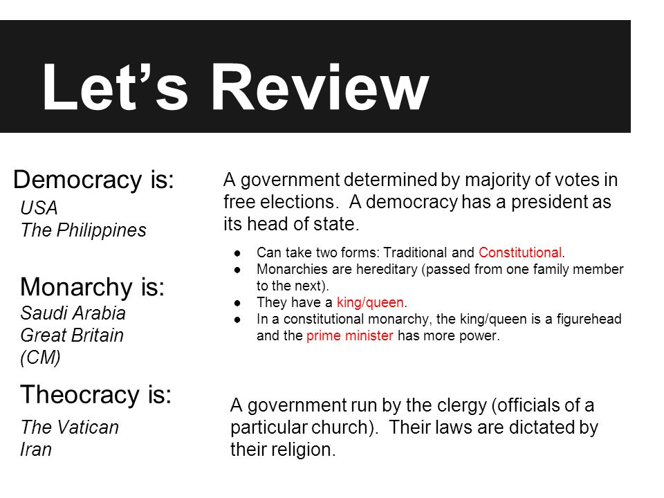 Let's Review Dictatorship is: Transitional is: