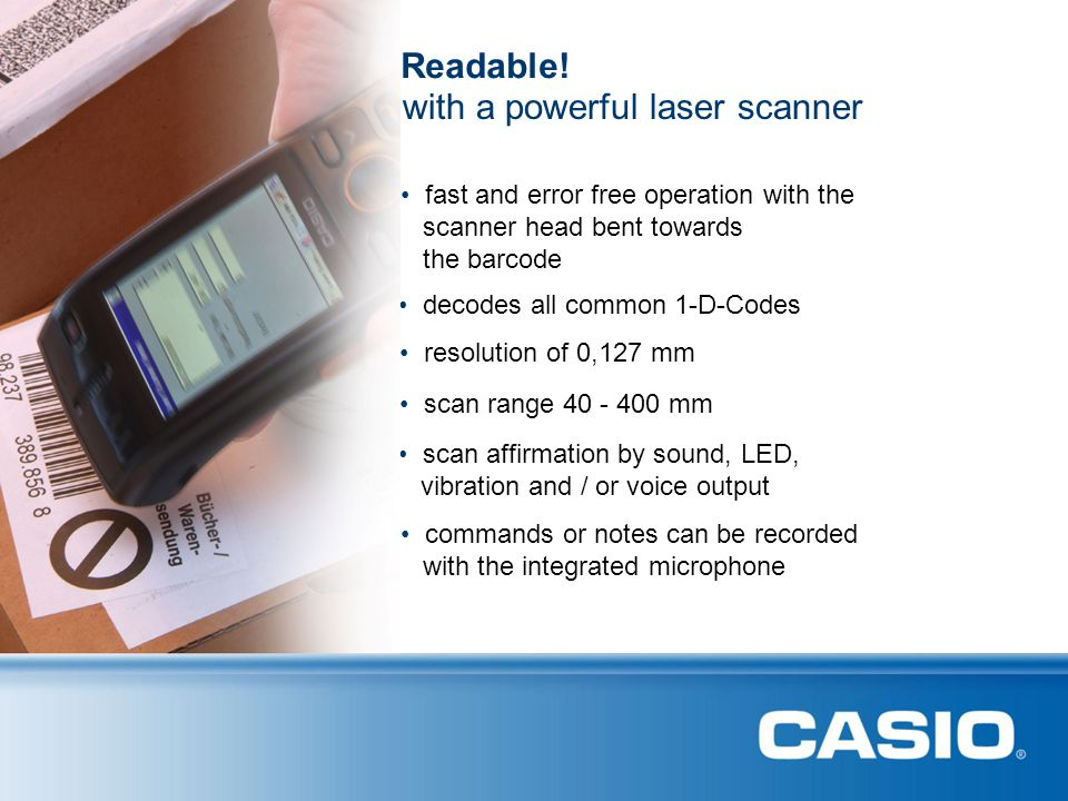 with a powerful laser scanner Readable!