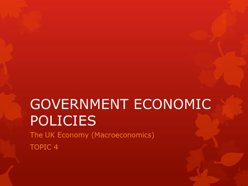GOVERNMENT ECONOMIC POLICIES