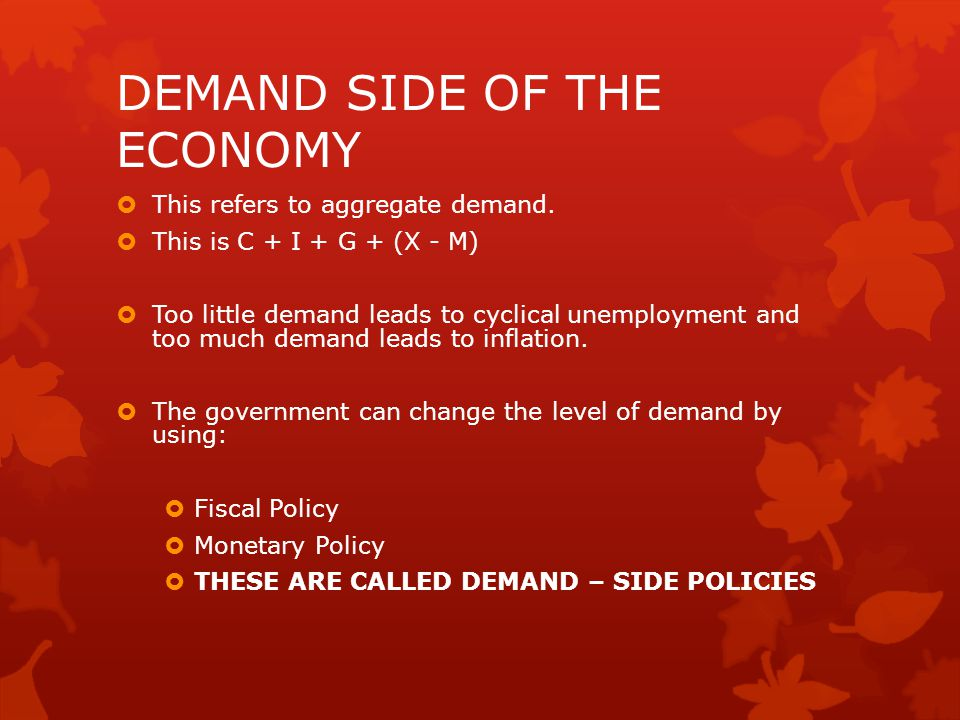 DEMAND SIDE OF THE ECONOMY