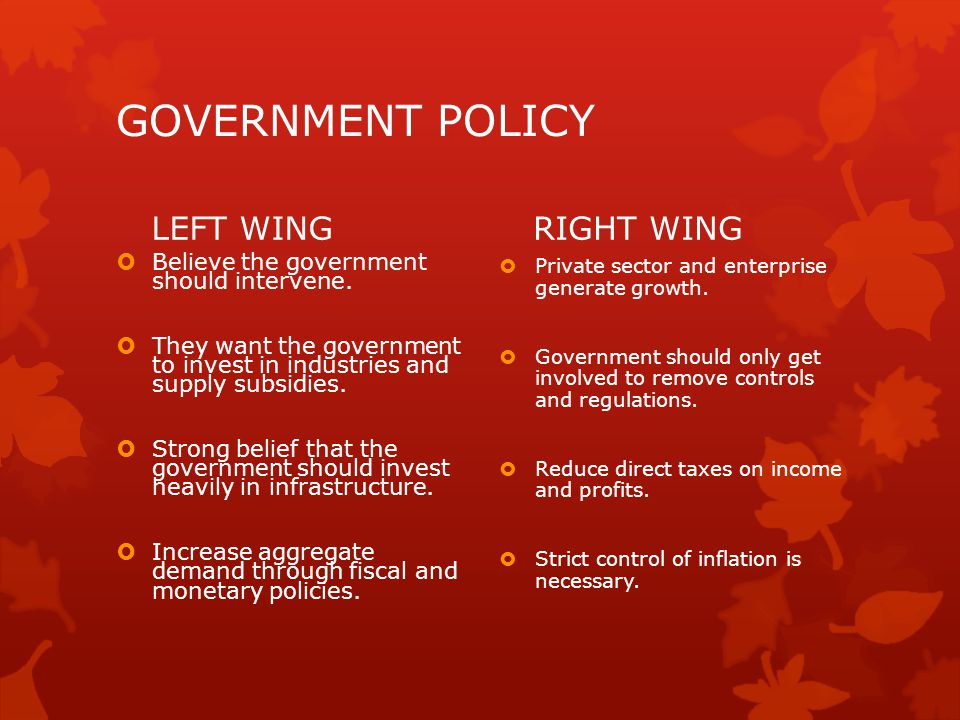 GOVERNMENT POLICY LEFT WING RIGHT WING
