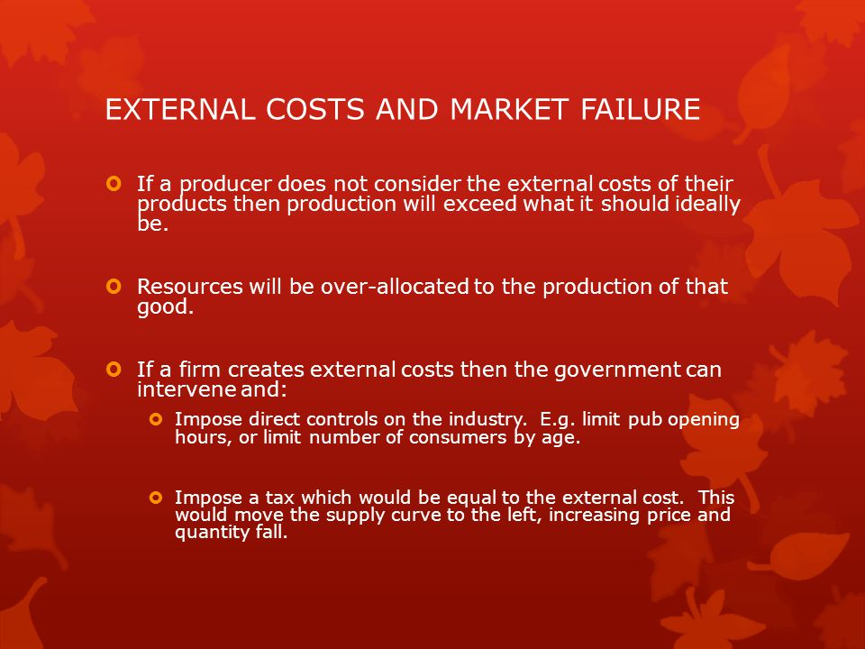 EXTERNAL COSTS AND MARKET FAILURE