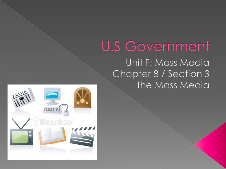 Unit F: Mass Media Chapter 8 / Section 3 The Mass Media