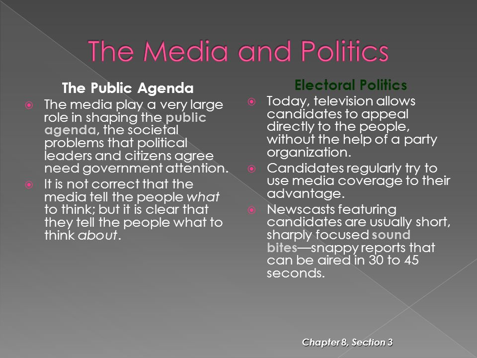 The Media and Politics The Public Agenda Electoral Politics