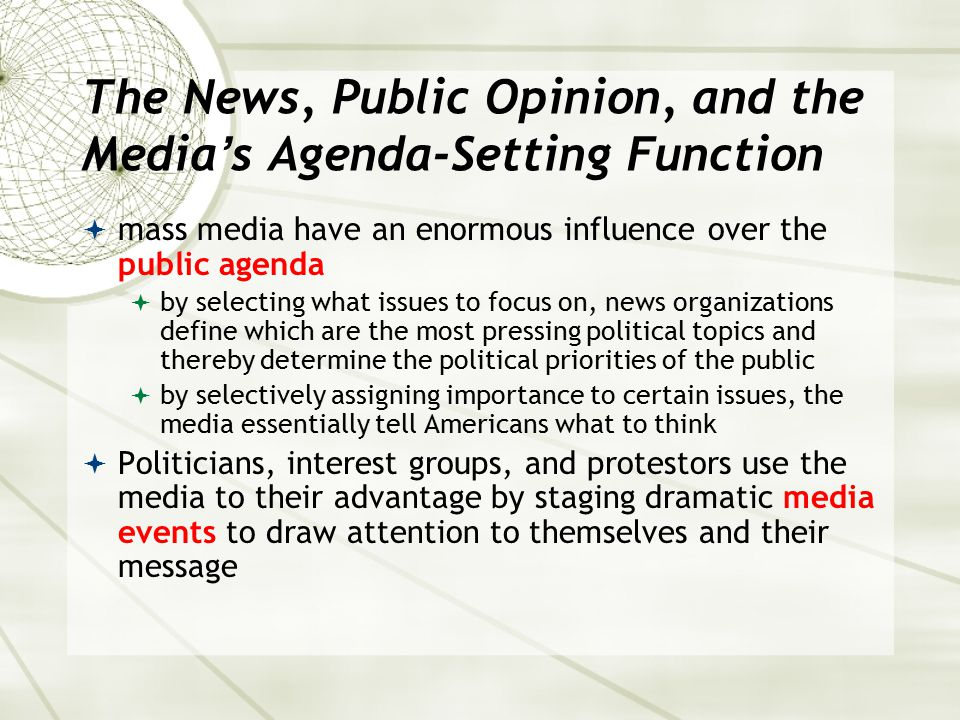 The News, Public Opinion, and the Media's Agenda-Setting Function