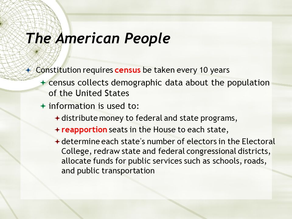 The American People Constitution requires census be taken every 10 years. census collects demographic data about the population of the United States.