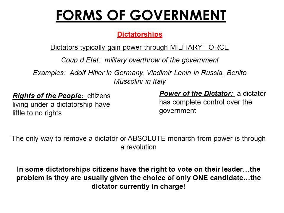 FORMS OF GOVERNMENT Dictatorships