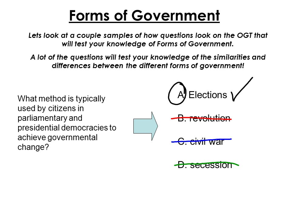 Forms of Government Elections B. revolution C. civil war D. secession