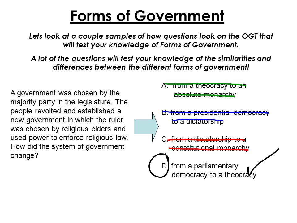 Forms of Government Lets look at a couple samples of how questions look on the OGT that will test your knowledge of Forms of Government.