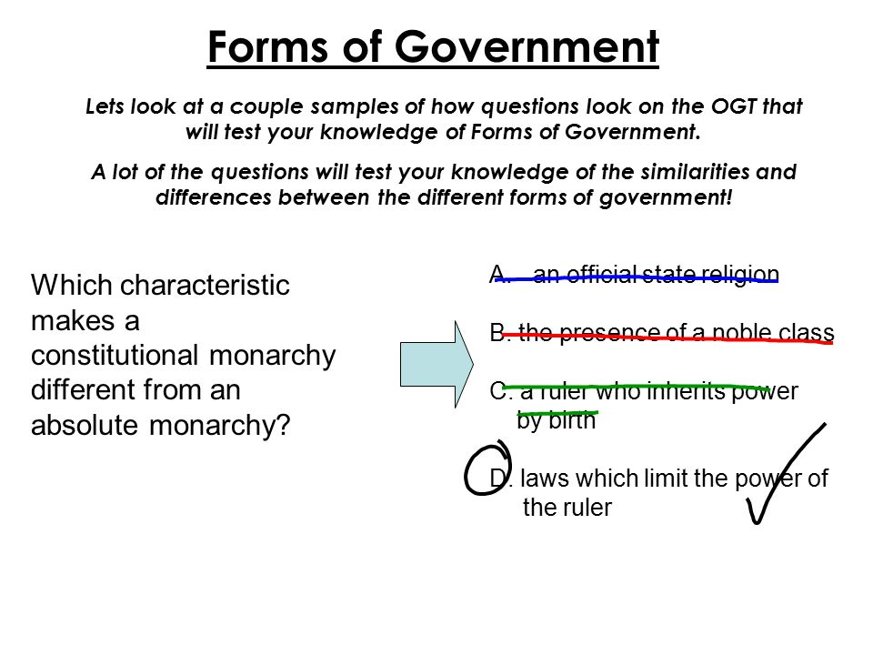Forms of Government Which characteristic makes a