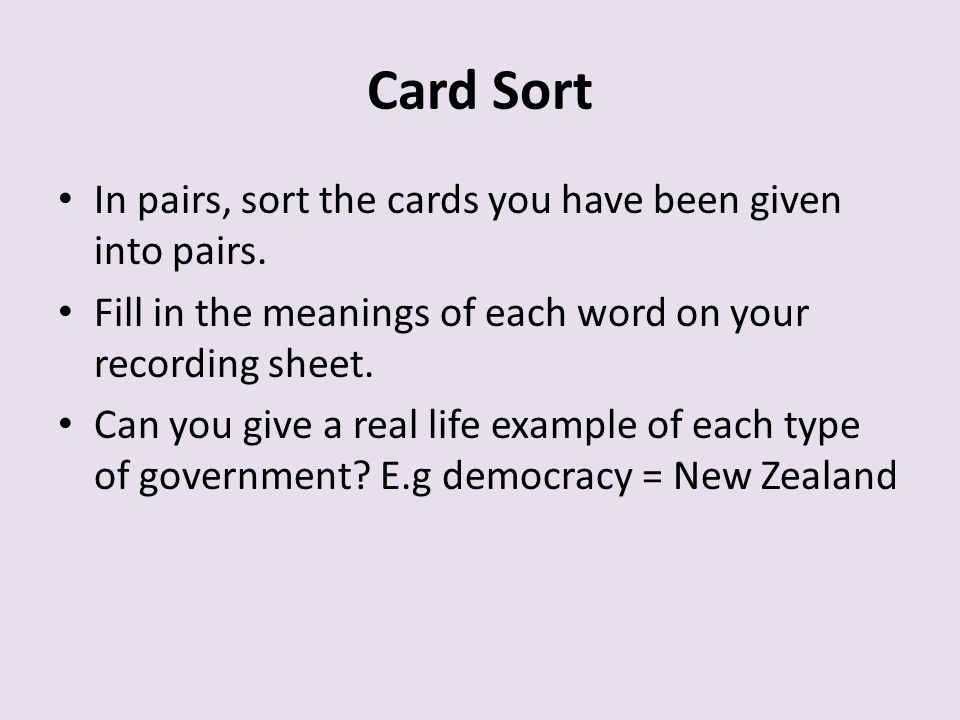 Card Sort In pairs, sort the cards you have been given into pairs.