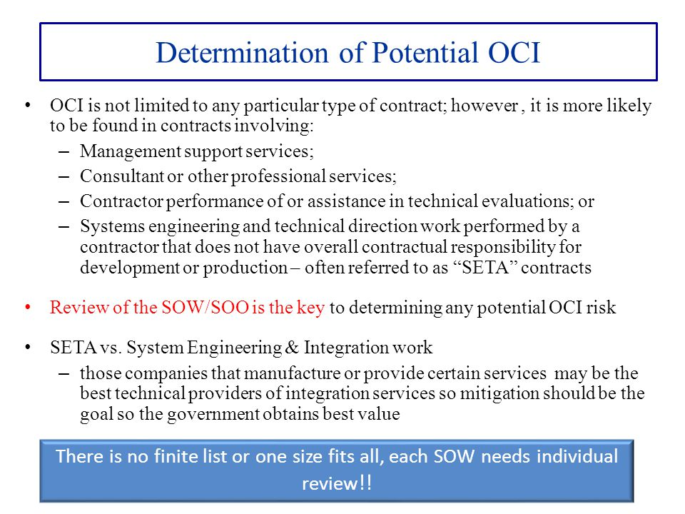 Determination of Potential OCI