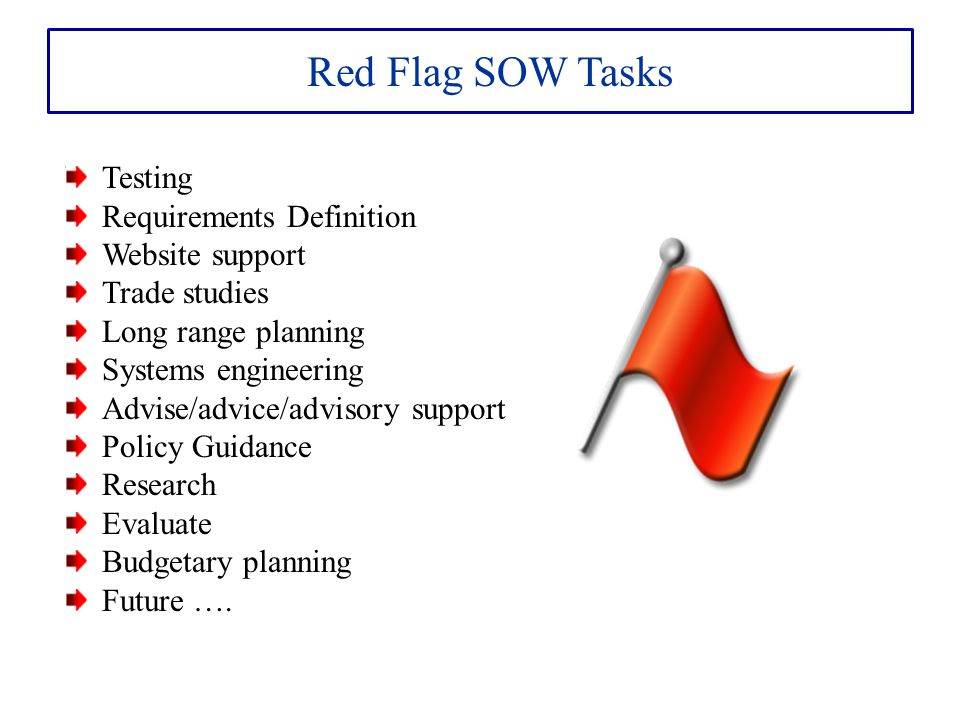 Red Flag SOW Tasks Testing Requirements Definition Website support