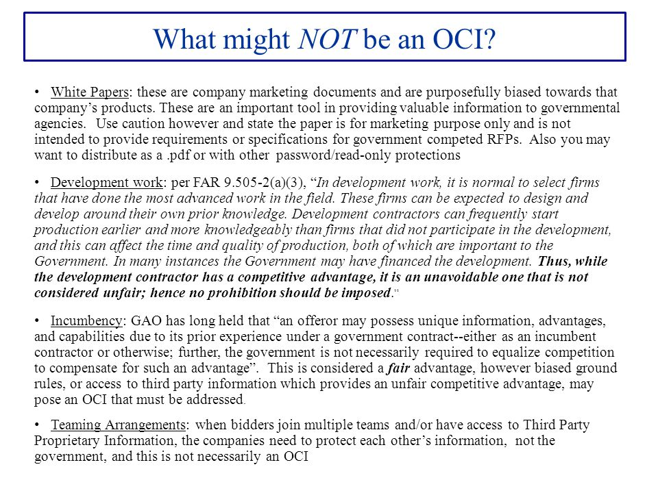 What might NOT be an OCI