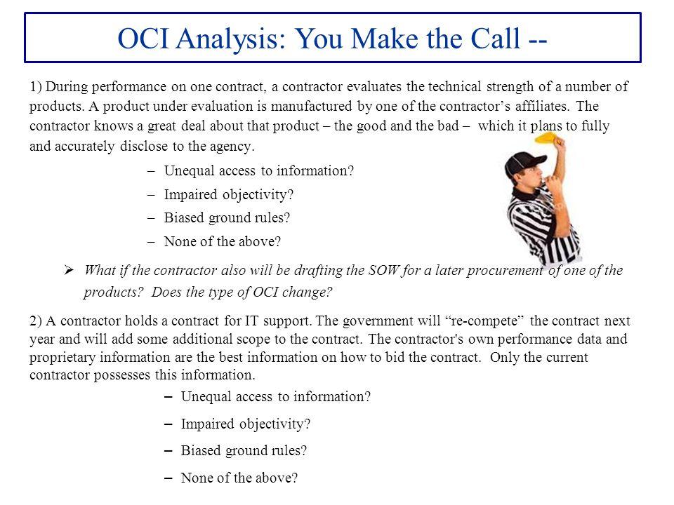 OCI Analysis: You Make the Call --