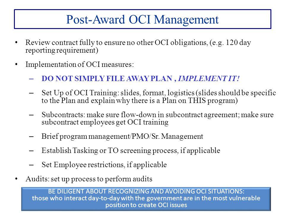 Post-Award OCI Management