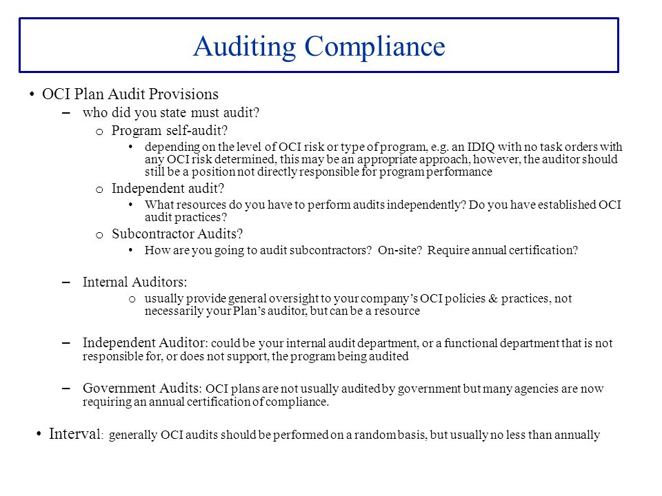 Auditing Compliance OCI Plan Audit Provisions