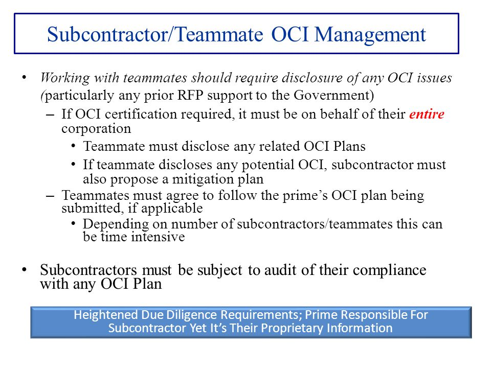 Subcontractor/Teammate OCI Management