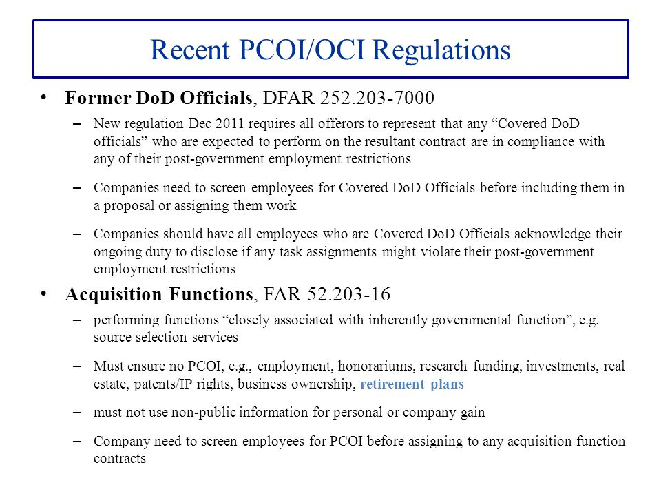 Recent PCOI/OCI Regulations