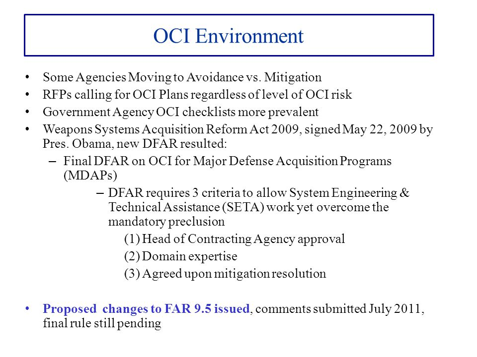 OCI Environment Some Agencies Moving to Avoidance vs. Mitigation