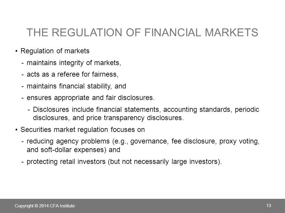 The regulation of financial markets